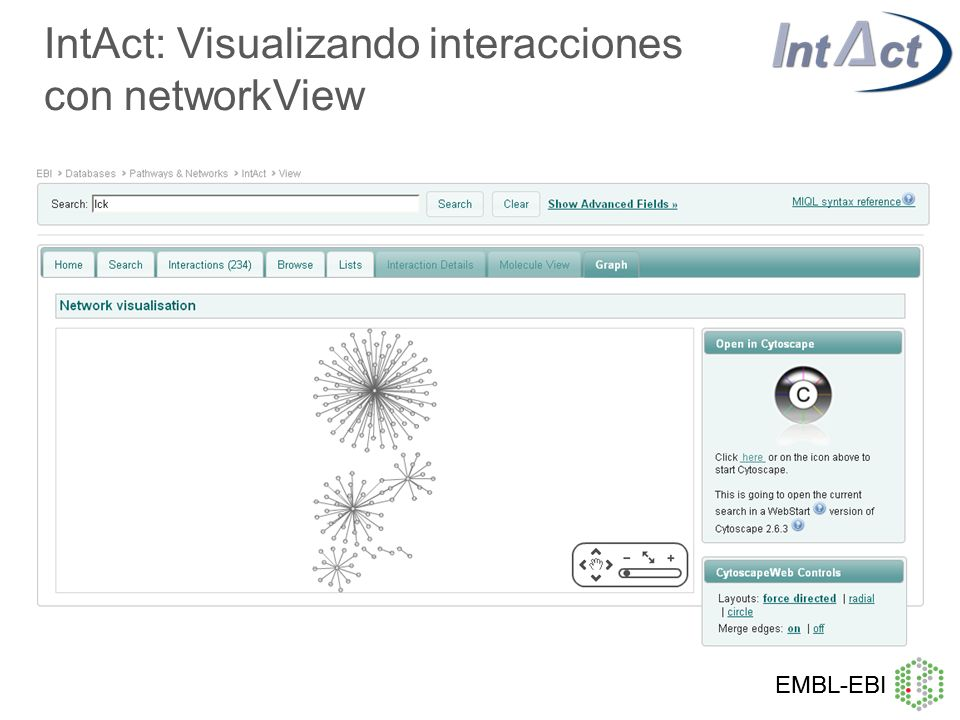 IntAct: Visualizando interacciones con networkView
