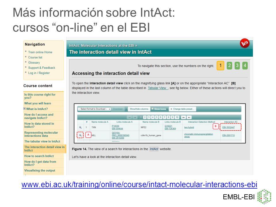 Más información sobre IntAct: cursos on-line en el EBI