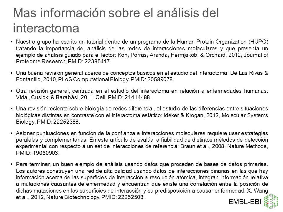 Mas información sobre el análisis del interactoma
