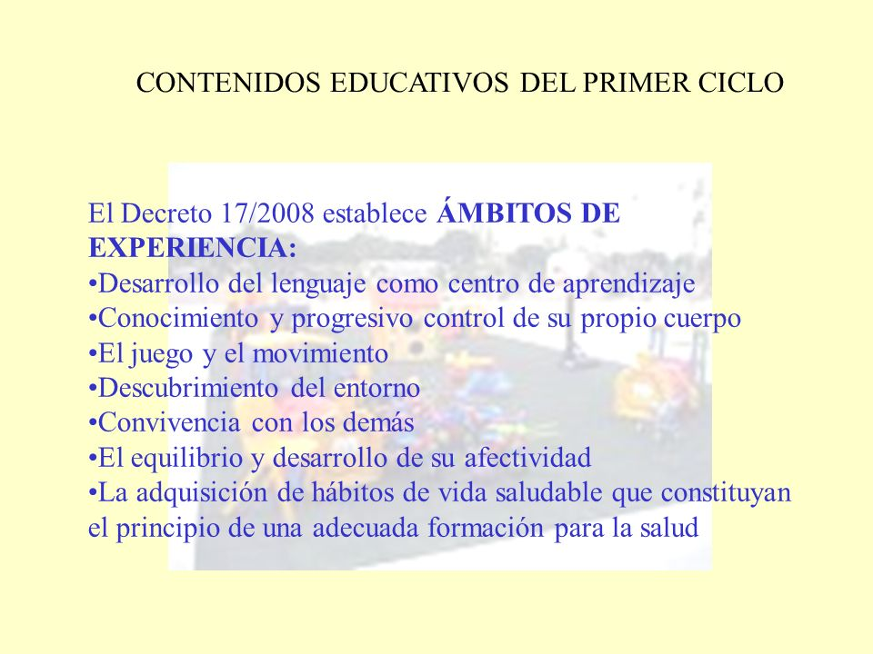 CONTENIDOS EDUCATIVOS DEL PRIMER CICLO