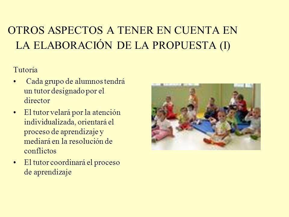 OTROS ASPECTOS A TENER EN CUENTA EN LA ELABORACIÓN DE LA PROPUESTA (I)