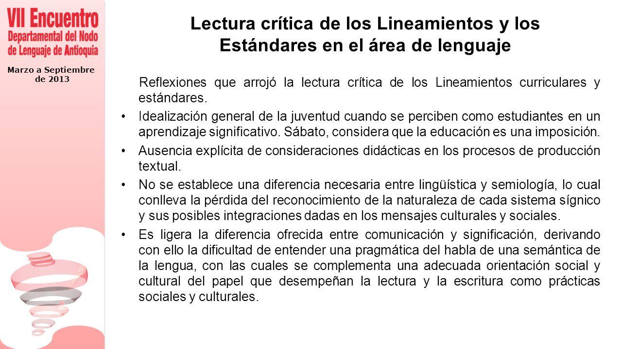 Lectura crítica de los Lineamientos y los Estándares en el área de lenguaje