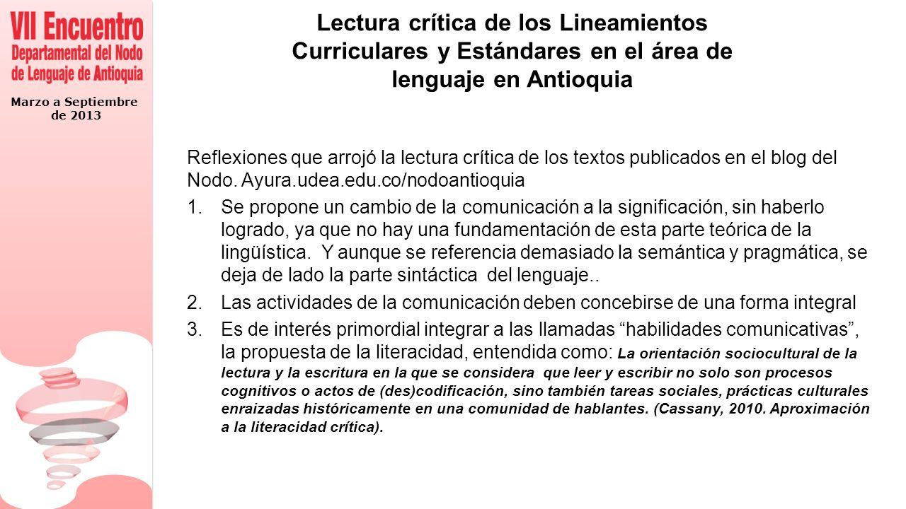 Lectura crítica de los Lineamientos Curriculares y Estándares en el área de lenguaje en Antioquia