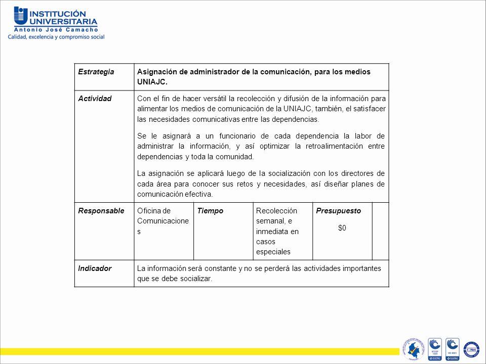 Estrategia Asignación de administrador de la comunicación, para los medios UNIAJC. Actividad.