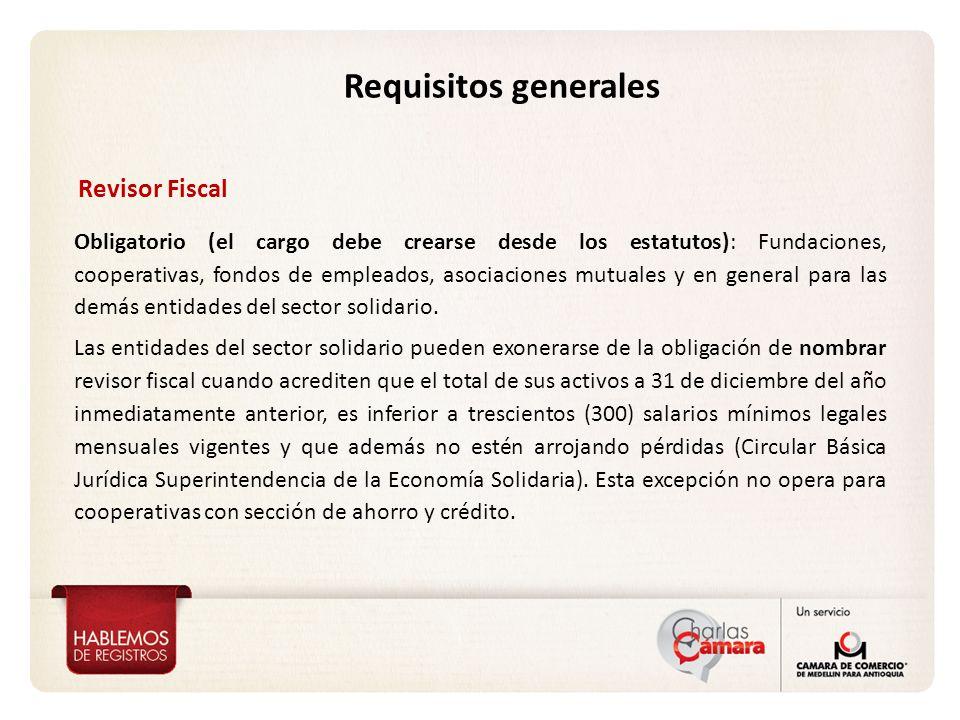 Requisitos generales Revisor Fiscal