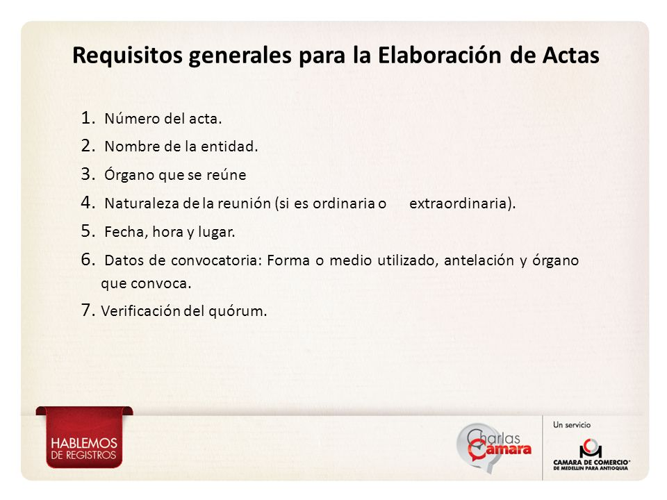 Requisitos generales para la Elaboración de Actas