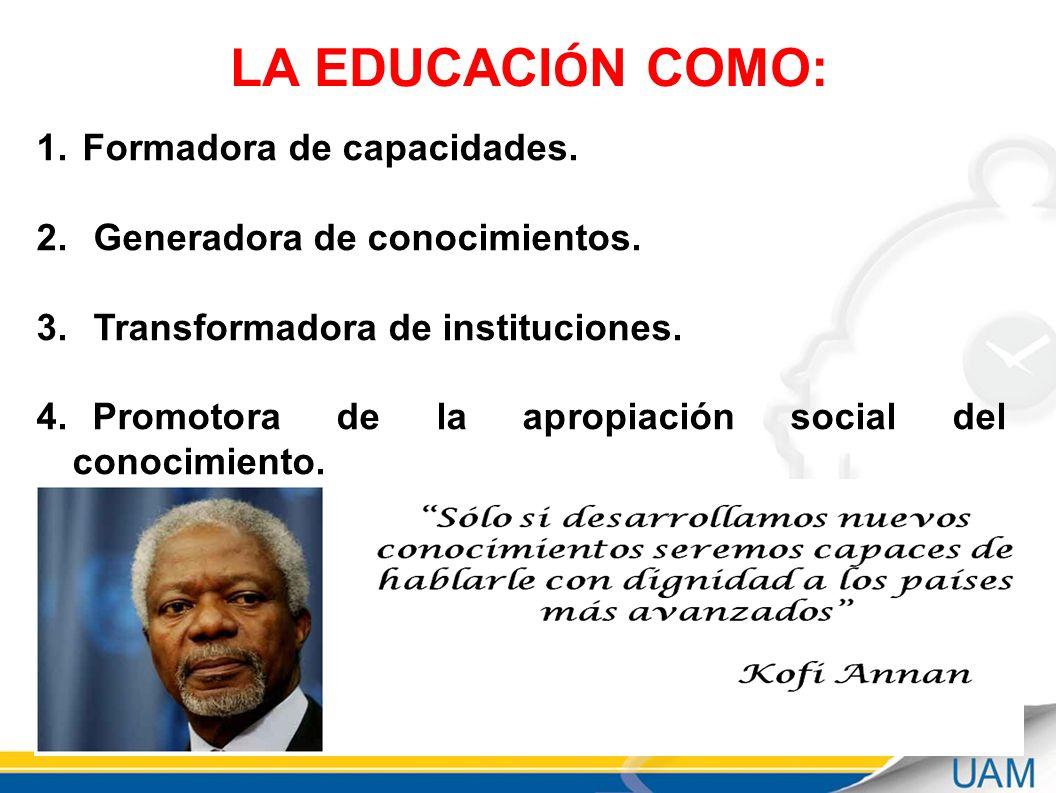 LA EDUCACIÓN COMO: Formadora de capacidades.