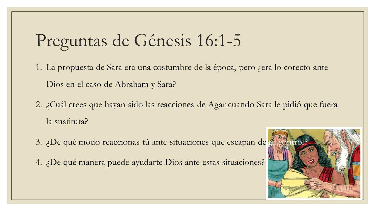 Preguntas de Génesis 16:1-5