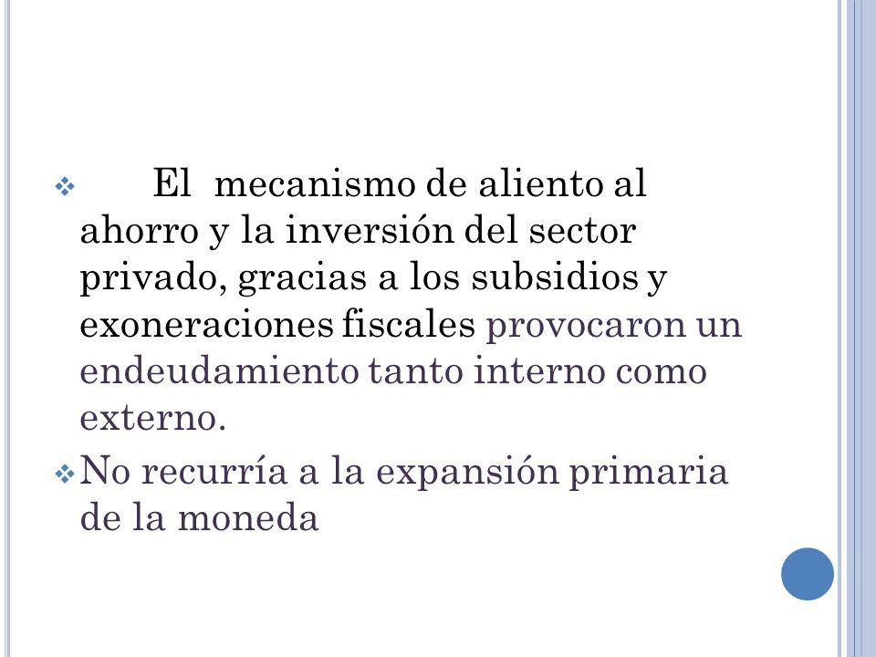 El mecanismo de aliento al ahorro y la inversión del sector privado, gracias a los subsidios y exoneraciones fiscales provocaron un endeudamiento tanto interno como externo.