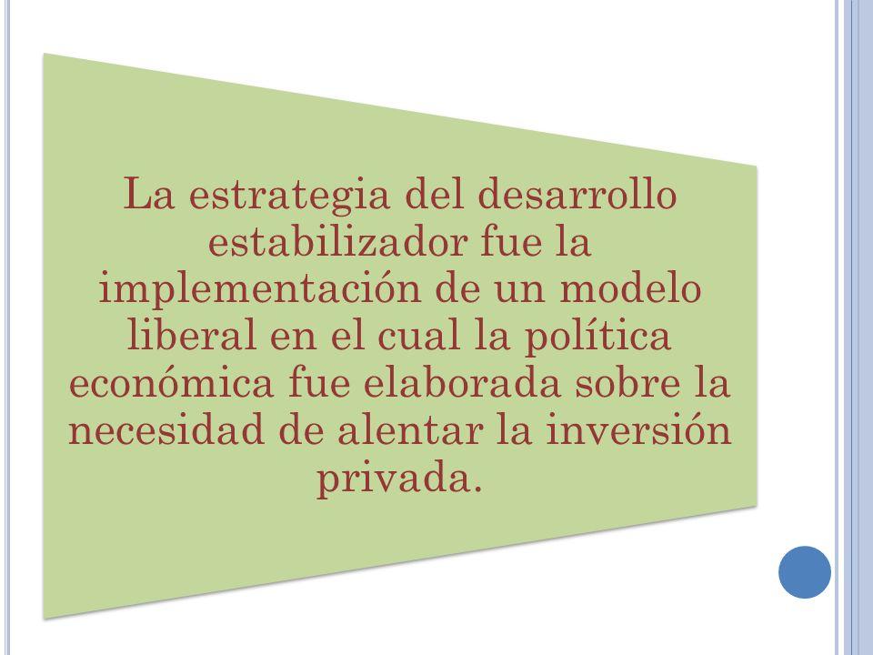 La estrategia del desarrollo estabilizador fue la implementación de un modelo liberal en el cual la política económica fue elaborada sobre la necesidad de alentar la inversión privada.