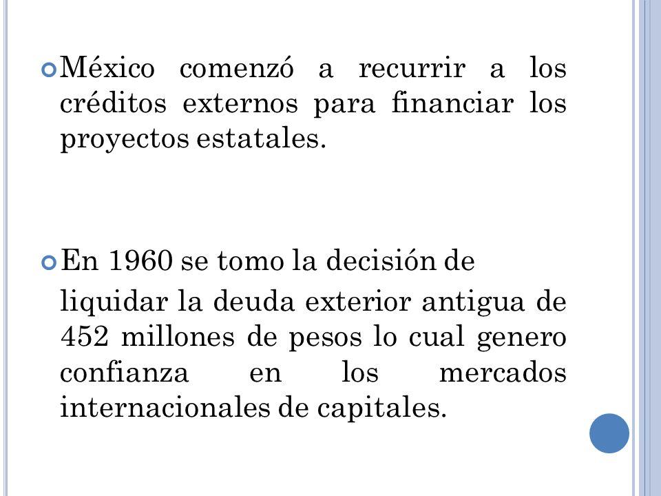 México comenzó a recurrir a los créditos externos para financiar los proyectos estatales.