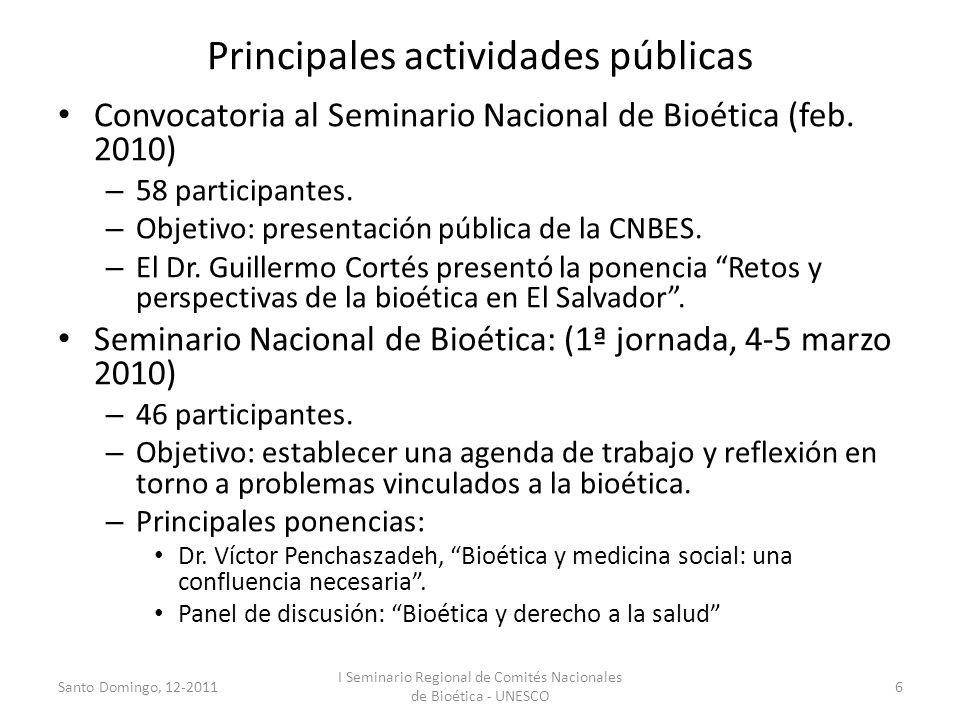 Principales actividades públicas