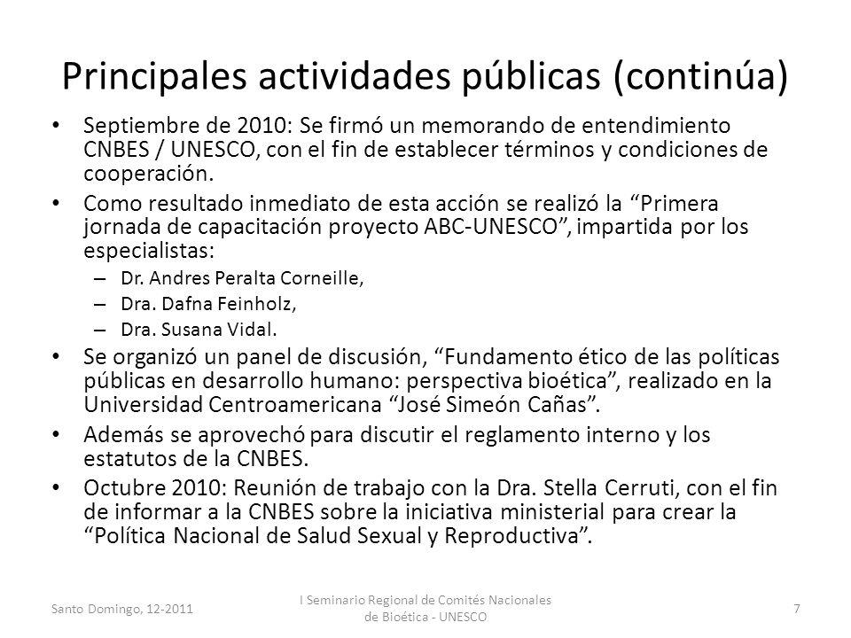 Principales actividades públicas (continúa)