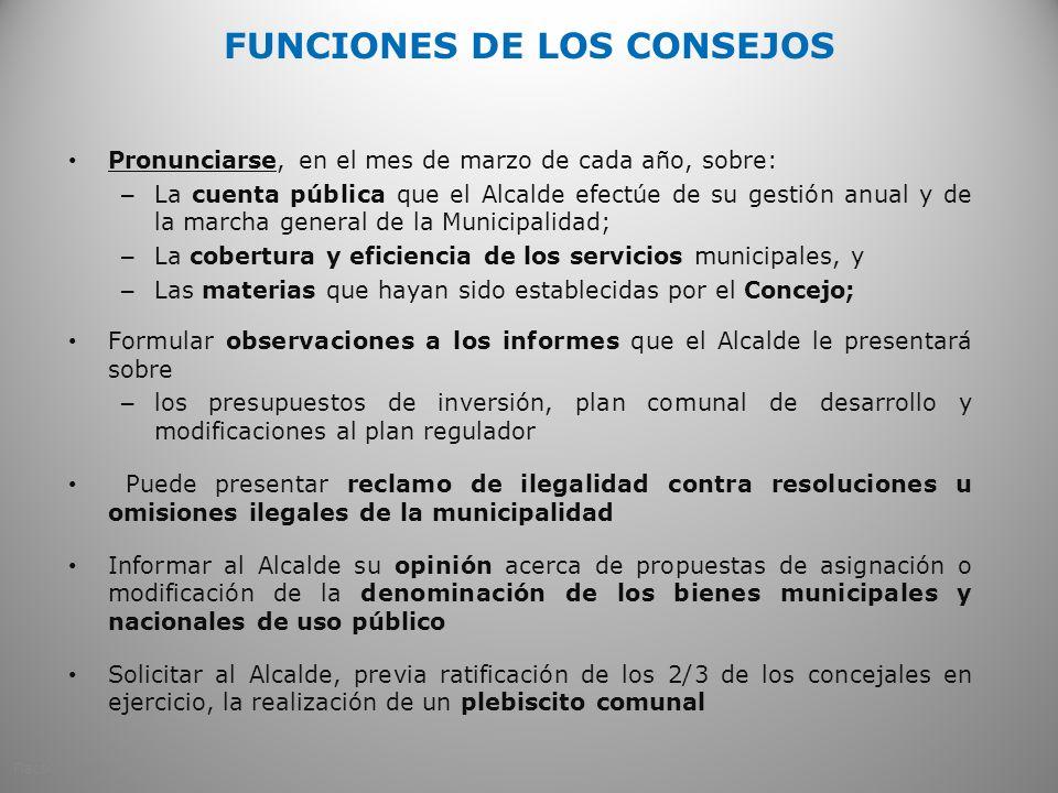 FUNCIONES DE LOS CONSEJOS