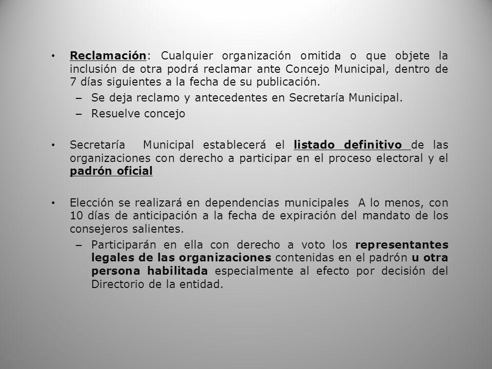 Se deja reclamo y antecedentes en Secretaría Municipal.