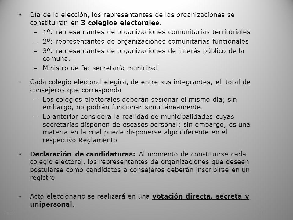 1º: representantes de organizaciones comunitarias territoriales