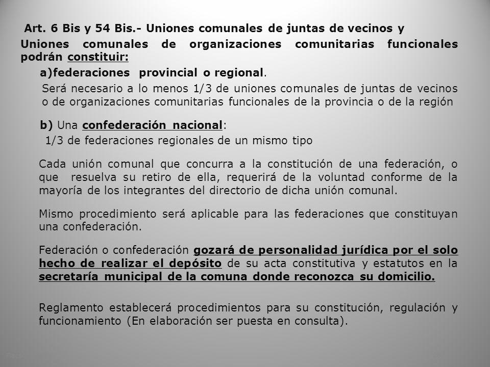 Art. 6 Bis y 54 Bis.- Uniones comunales de juntas de vecinos y