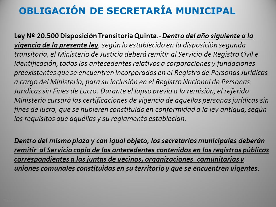OBLIGACIÓN DE SECRETARÍA MUNICIPAL