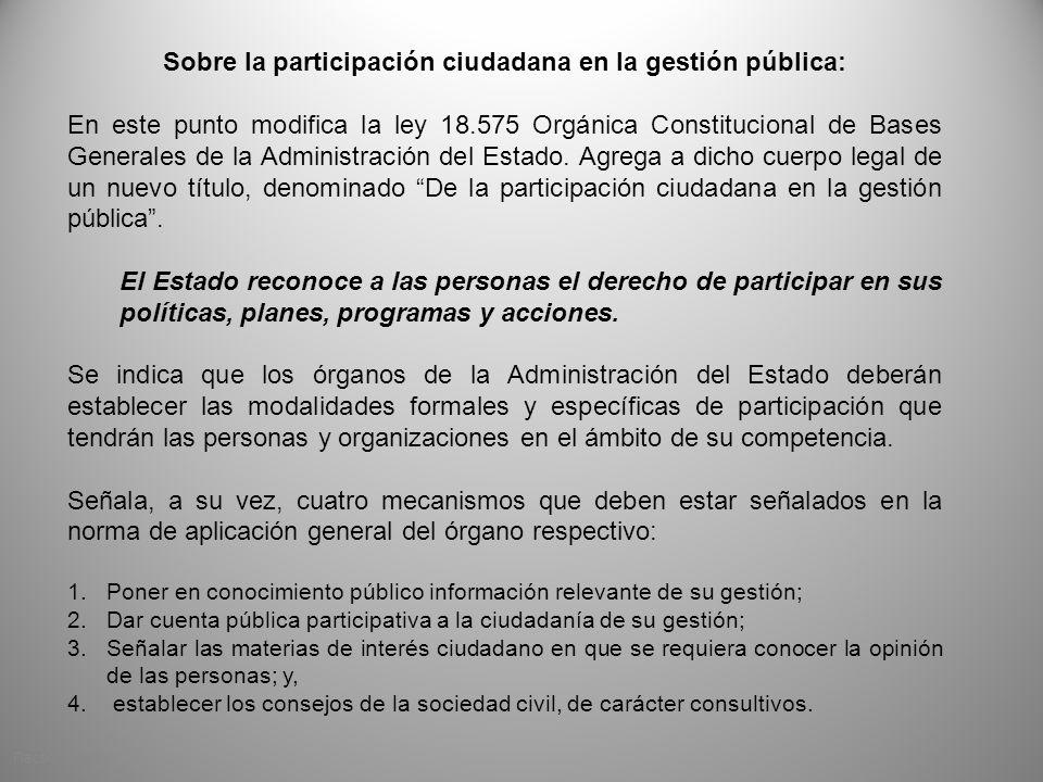 Sobre la participación ciudadana en la gestión pública: