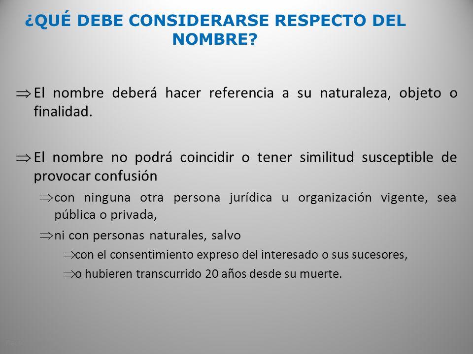 ¿QUÉ DEBE CONSIDERARSE RESPECTO DEL NOMBRE