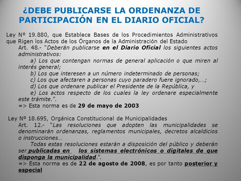 ¿DEBE PUBLICARSE LA ORDENANZA DE PARTICIPACIÓN EN EL DIARIO OFICIAL
