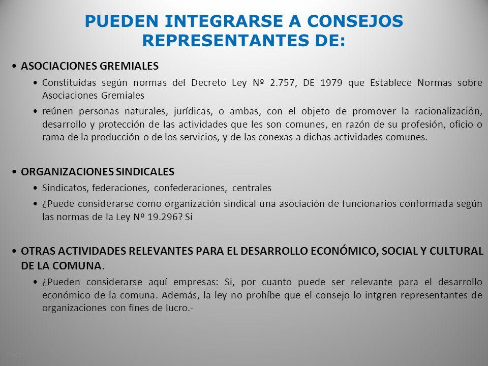 PUEDEN INTEGRARSE A CONSEJOS REPRESENTANTES DE: