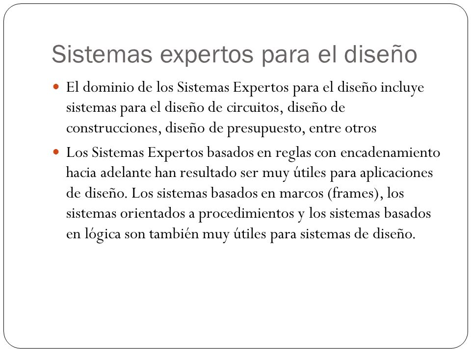 Sistemas expertos para el diseño