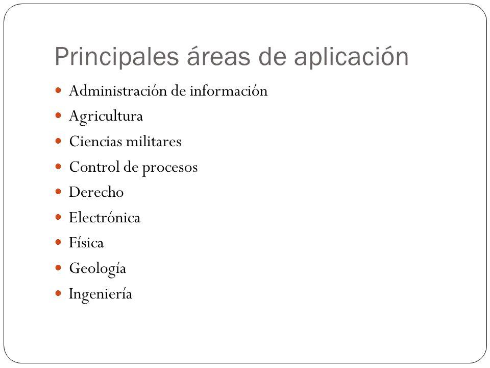 Principales áreas de aplicación