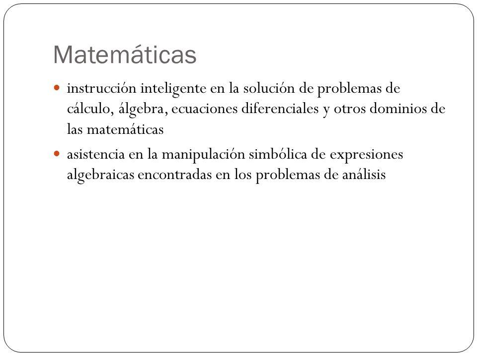 Matemáticas instrucción inteligente en la solución de problemas de cálculo, álgebra, ecuaciones diferenciales y otros dominios de las matemáticas.