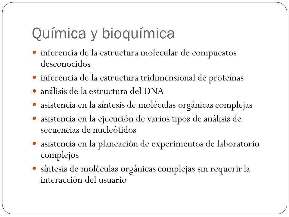 Química y bioquímica inferencia de la estructura molecular de compuestos desconocidos. inferencia de la estructura tridimensional de proteínas.