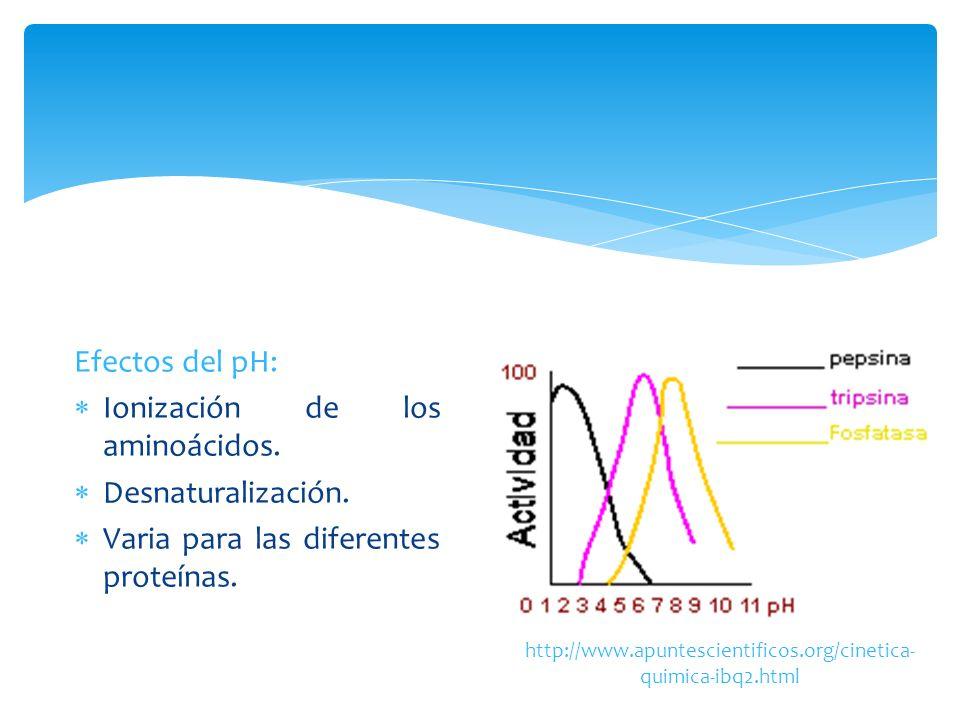 Ionización de los aminoácidos. Desnaturalización.