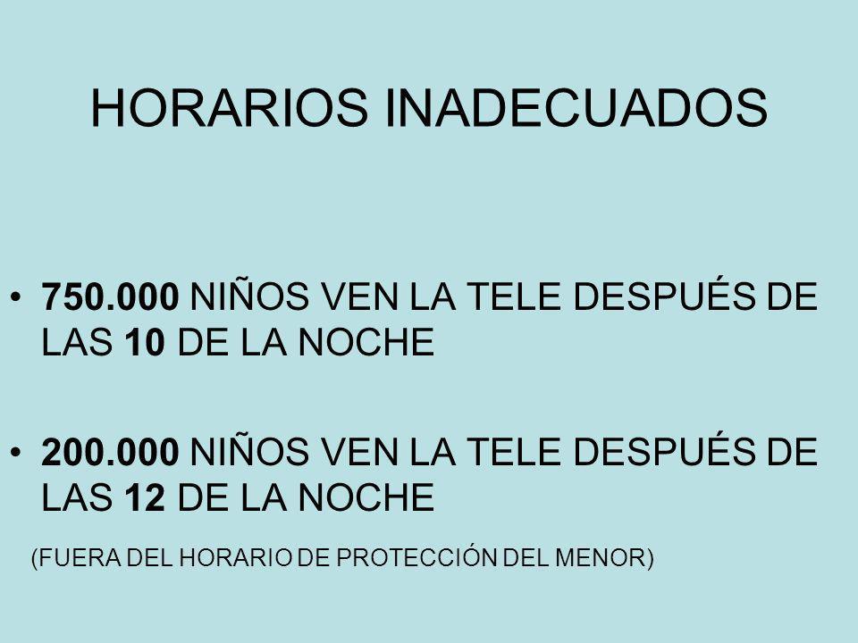 HORARIOS INADECUADOS 750.000 NIÑOS VEN LA TELE DESPUÉS DE LAS 10 DE LA NOCHE. 200.000 NIÑOS VEN LA TELE DESPUÉS DE LAS 12 DE LA NOCHE.
