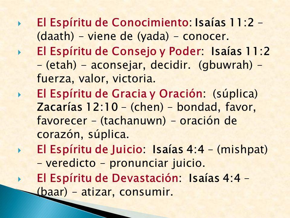 El Espíritu de Conocimiento: Isaías 11:2 – (daath) – viene de (yada) – conocer.