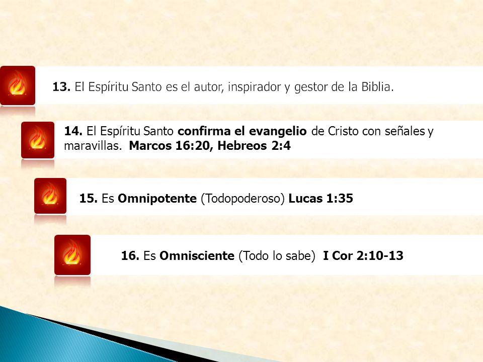 13. El Espíritu Santo es el autor, inspirador y gestor de la Biblia.