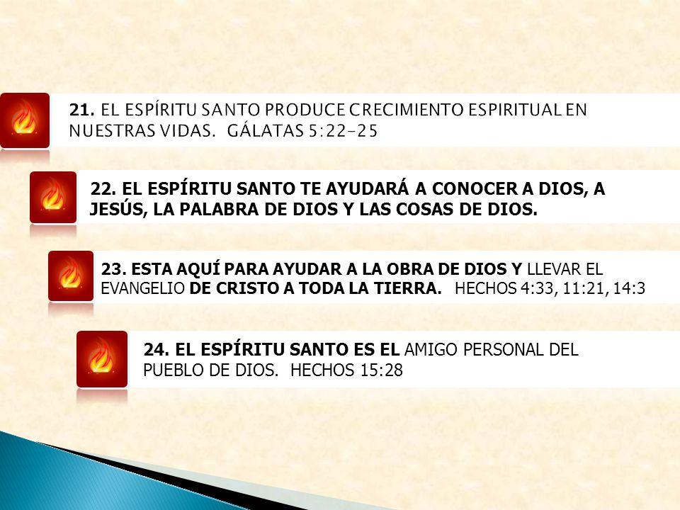 21. EL ESPÍRITU SANTO PRODUCE CRECIMIENTO ESPIRITUAL EN NUESTRAS VIDAS