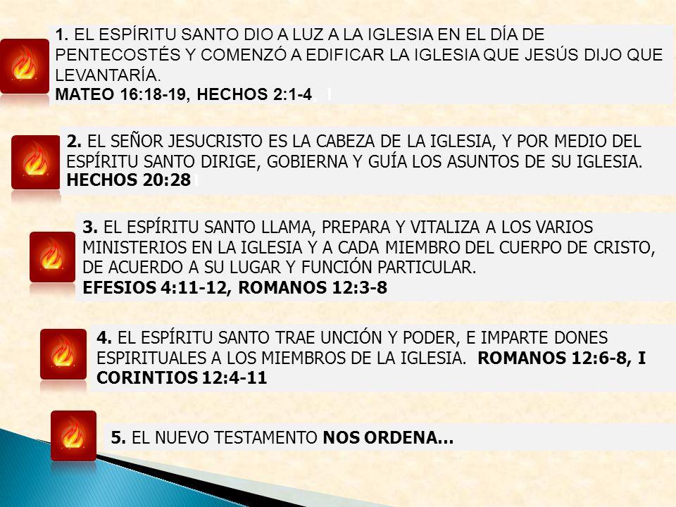 1. EL ESPÍRITU SANTO DIO A LUZ A LA IGLESIA EN EL DÍA DE PENTECOSTÉS Y COMENZÓ A EDIFICAR LA IGLESIA QUE JESÚS DIJO QUE LEVANTARÍA.