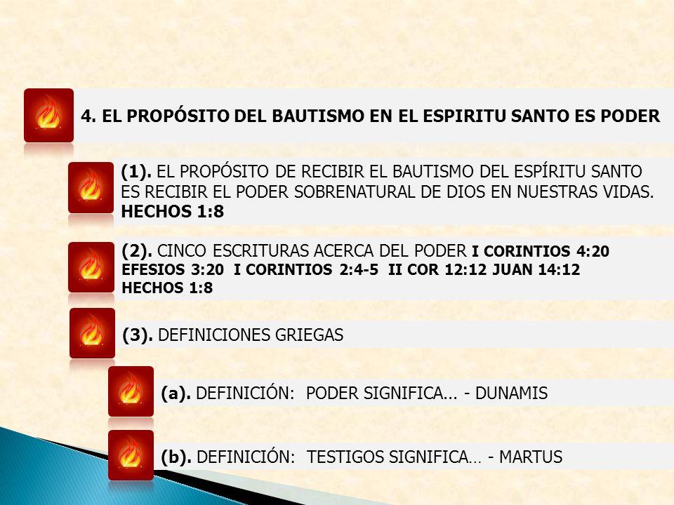 4. EL PROPÓSITO DEL BAUTISMO EN EL ESPIRITU SANTO ES PODER