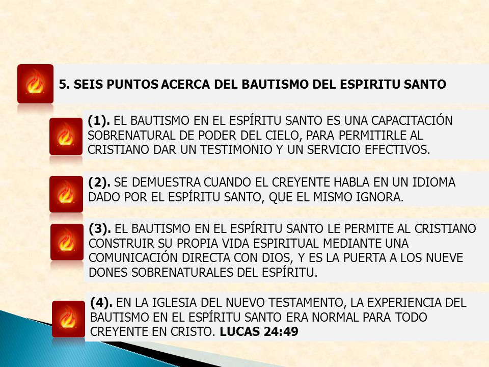 5. SEIS PUNTOS ACERCA DEL BAUTISMO DEL ESPIRITU SANTO
