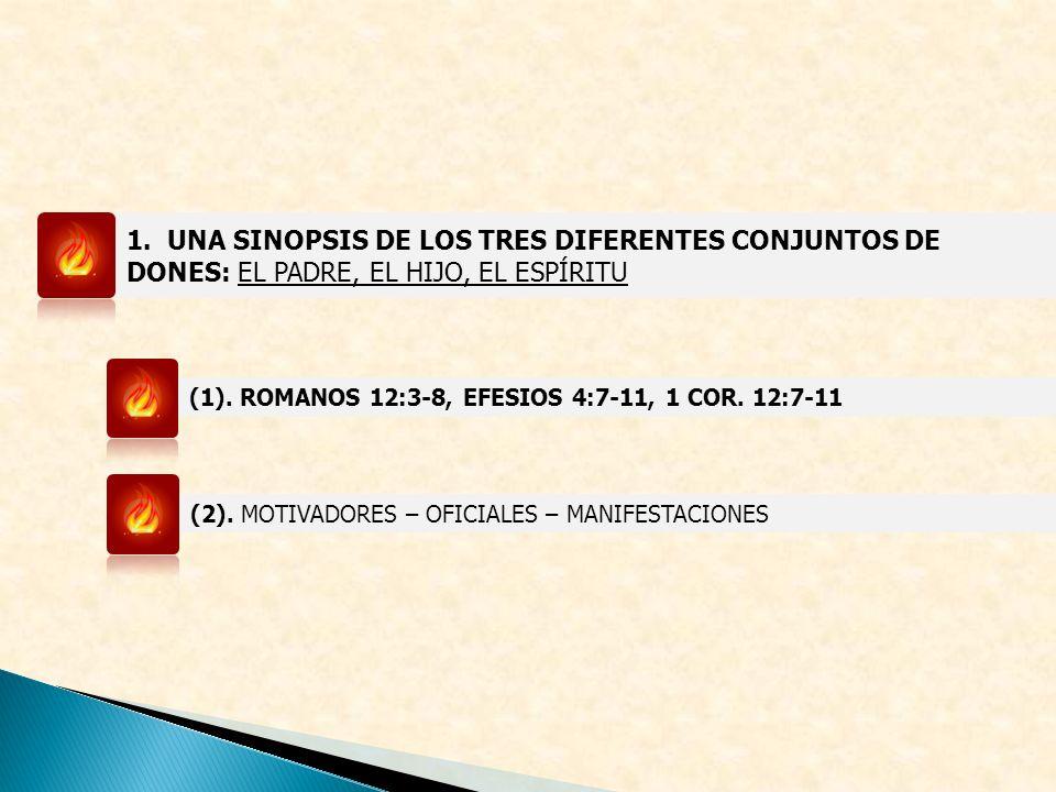 1. UNA SINOPSIS DE LOS TRES DIFERENTES CONJUNTOS DE DONES: EL PADRE, EL HIJO, EL ESPÍRITU