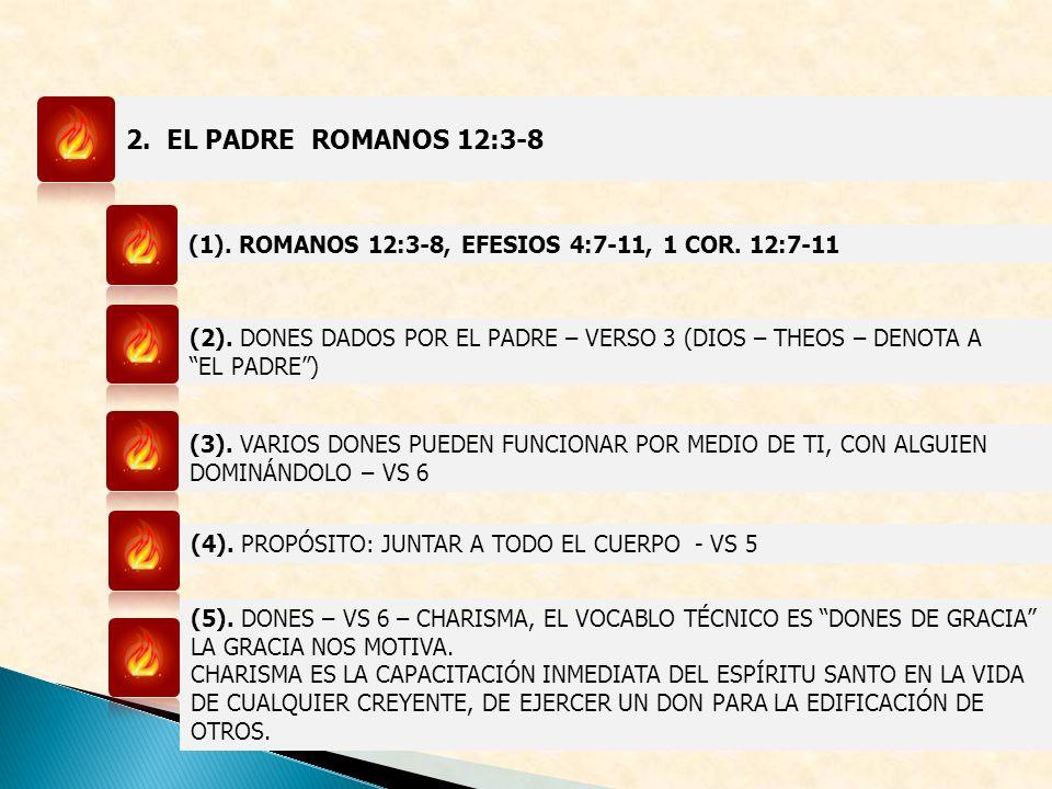 2. EL PADRE ROMANOS 12:3-8 (1). ROMANOS 12:3-8, EFESIOS 4:7-11, 1 COR. 12:7-11. (2). DONES DADOS POR EL PADRE – VERSO 3 (DIOS – THEOS – DENOTA A.