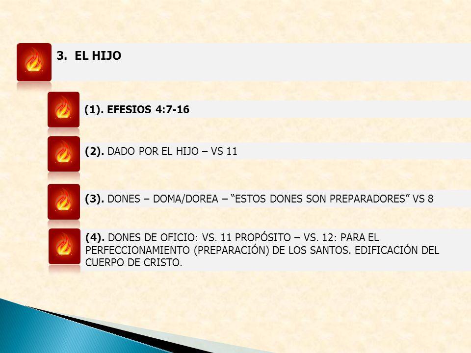 3. EL HIJO (1). EFESIOS 4:7-16 (2). DADO POR EL HIJO – VS 11