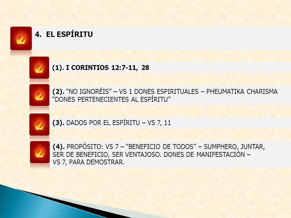 4. EL ESPÍRITU (1). I CORINTIOS 12:7-11, 28