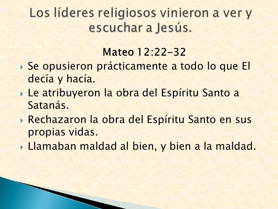 Los líderes religiosos vinieron a ver y escuchar a Jesús.