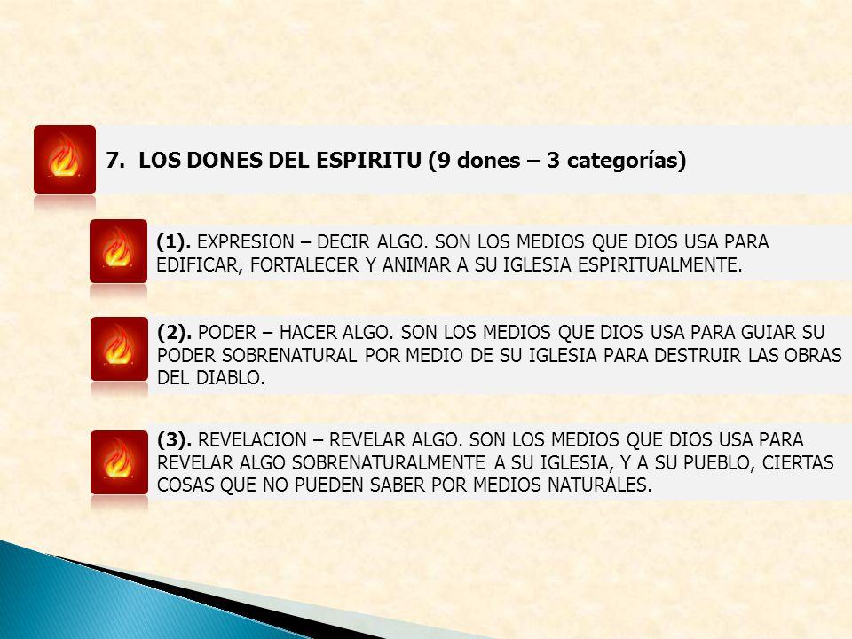 7. LOS DONES DEL ESPIRITU (9 dones – 3 categorías)