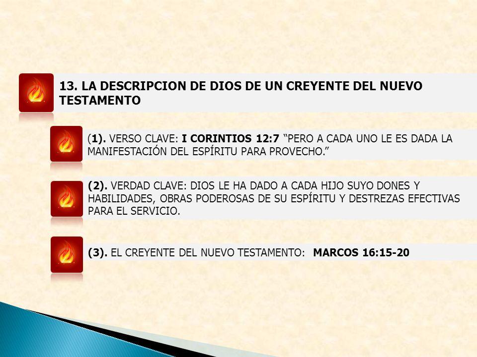 13. LA DESCRIPCION DE DIOS DE UN CREYENTE DEL NUEVO TESTAMENTO