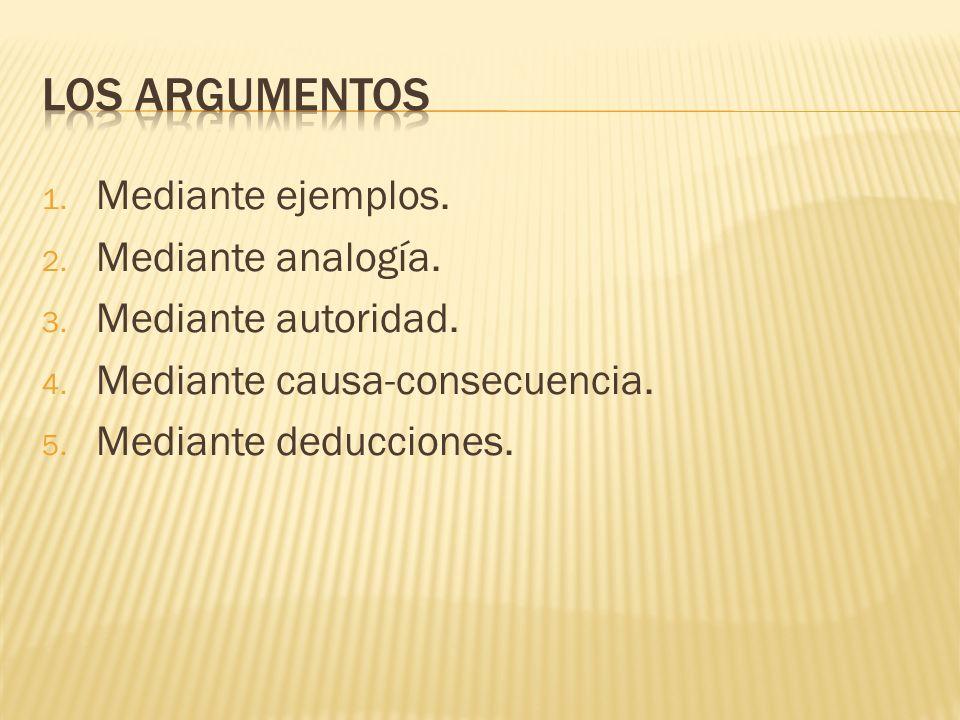 Los argumentos Mediante ejemplos. Mediante analogía.