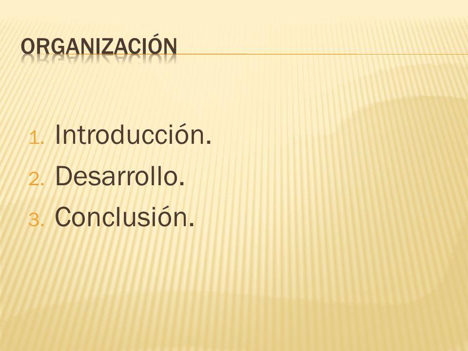 Organización Introducción. Desarrollo. Conclusión.