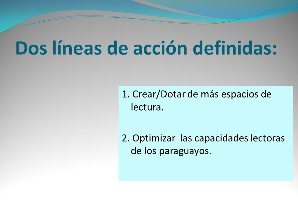 Dos líneas de acción definidas: