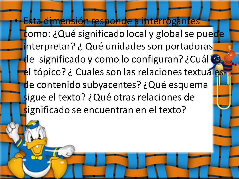 Esta dimensión responde a interrogantes como: ¿Qué significado local y global se puede interpretar.