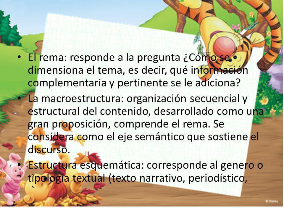 El rema: responde a la pregunta ¿Cómo se dimensiona el tema, es decir, qué información complementaria y pertinente se le adiciona